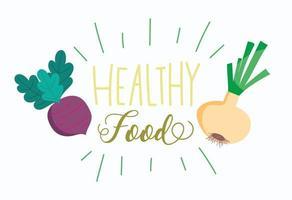Bio-Rüben und Zwiebeln gesunde Lebensmittel Schriftzug