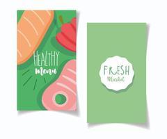 Restaurantmenü für gesundes Essen und Bio-Marktbanner