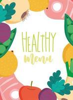 Menüvorlage für gesunde Lebensmittel und Bio-Produkte