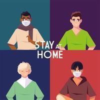 Satz von vier Mann und bleiben zu Hause Schriftzug vektor