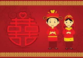 Gratis kinesisk bröllopsillustration vektor