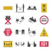 samling av ikoner för social distansering