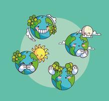 uppsättning ikoner av leende kawaii planetjord vektor
