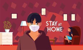 zwei Personen zu Hause und bleiben zu Hause Schriftzug vektor