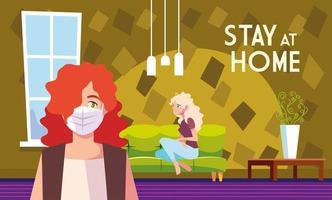 Frauen im Wohnzimmer und bleiben zu Hause Schriftzug vektor