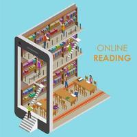 online-läsebibliotekskoncept vektor