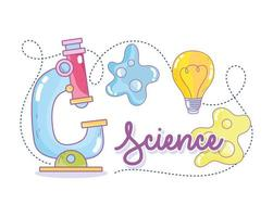 vetenskap bokstäver med mikroskop och bakterier vektor