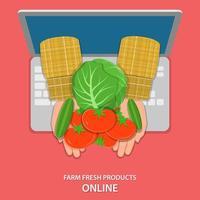 bondehänder som håller grönsaker som visas från laptop