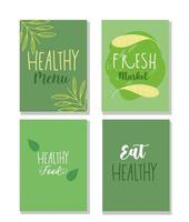 uppsättning gröna banners för hälsosam matindustri