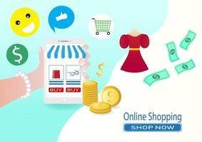 smartphone online försäljning och butik koncept vektor