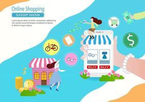 färgglada online shopping mall med kvinnor och enheter vektor