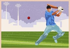 Cricket-Spieler im Spiel-Aktion vektor