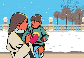 Vektor mamma och barn Dela Kärlek