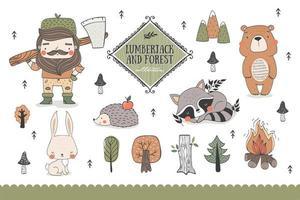 Waldtiere und lustige Holzfäller-Charaktersammlung