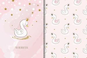 vacker prinsessan svan fågel vektor