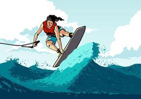 Wakeboarding Man macht einen Trick vektor