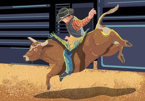 Bull Rider Auf Bucking Kuh Springen vektor