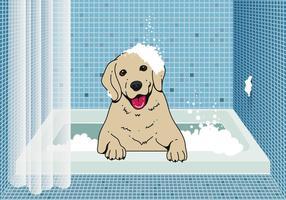 Netter Hund Waschen Hintergrund vektor