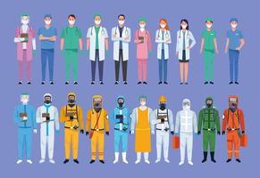 Sammlung von Charakteren des medizinischen Personals im Gesundheitswesen