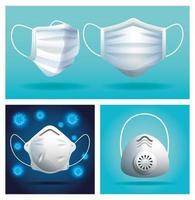 Satz weiße medizinische Gesichtsmasken, die Atemschutz schützen