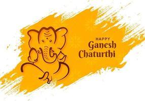 lord ganesh chaturthi indisk festival på gula målarfärger vektor