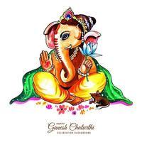 herre ganesha sitter med händerna upp för ganesh chaturthi-kort vektor