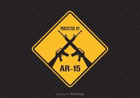 Free Geschützt durch AR-15 Vector Zeichen