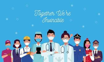 Gruppe von Arbeitern mit zusammen sind wir unbesiegbare Botschaft