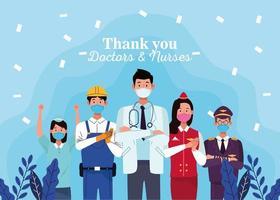 Gruppe von Arbeitern, die Gesichtsmasken mit Dankesnachricht verwenden