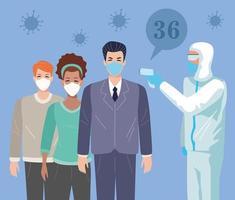 Menschen, die medizinische Masken am Temperaturkontrollpunkt verwenden