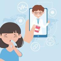 sjuk patient med vård av läkare online på smarttelefonen vektor