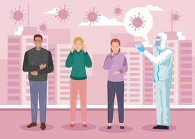 Drei Menschen erkranken an 19 Symptomen vektor
