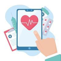 Hand berührt einen Smartphone-Bildschirm mit Online-Arzt und Gesundheitswesen vektor