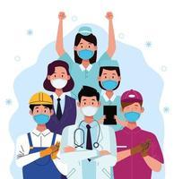 grupp arbetare som bär ansiktsmasker