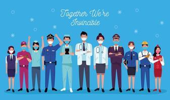 Gruppe von Arbeitern mit medizinischen Masken und zusammen sind wir unbesiegbare Schriftzüge