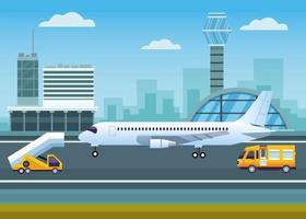 Flughafen mit Kontrollturm und Flugzeug vektor