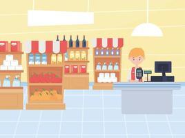 kassör och lagerhyllor i butiken