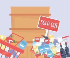 Korb und Einkaufswagen mit Produkten und leerem Regal gefüllt