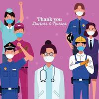 Gruppe von Arbeitern, die Schutzmasken mit Dankesnachricht verwenden