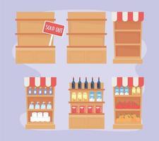 livsmedelsbutik, marknads- och apotekshyllor