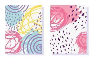 Memphis Design abstrakte Formen und Kritzeleien Karten vektor