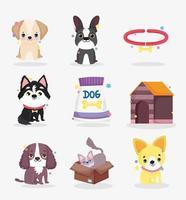 süße kleine Tiere und Haustierfiguren eingestellt vektor