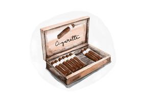 Gratis cigarettpack Akvarell Vector