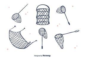 Handdragen fisknätvektor vektor