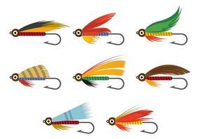 Vektor von Fliegenfischen lockt Haken