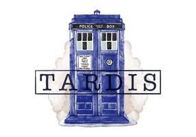 Gratis Tardis Police Call Box vattenfärg stil vektor