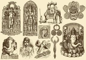 Weinlese Indien Art vektor