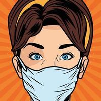 kvinna som använder ansiktsmask för covid 19 i pop art stil