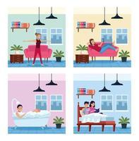 Reihe von Heimszenen mit Menschen in Quarantäne