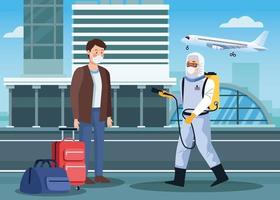 biosäkerhetsarbetare desinficerar flygplatsen mot covid 19 vektor